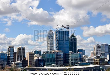 PERTH,WA,AUSTRALIA-AUGUST 22,2015: Modern urban architecture of cityscape views under a blue sky with clouds from King's Park in Perth, Western Australia.