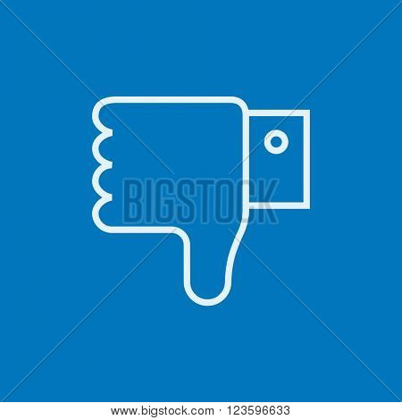 Thumb down hand sign line icon.