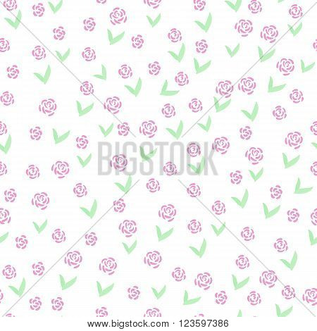 Hand drawn flowers seamless pattern. Cute colorful vector flowers for postcard and poster modern design. Grandma style flower pattern for textile wrapping paper hand drawn style backgrounds.
