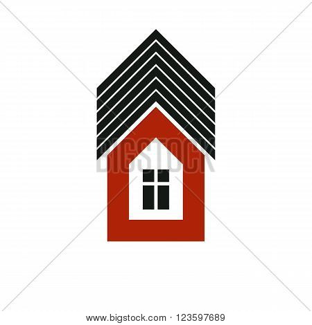 Real estate simple business icon isolated on white background abstract house depiction. Property vector symbol conceptual sign best for use in advertising and branding.