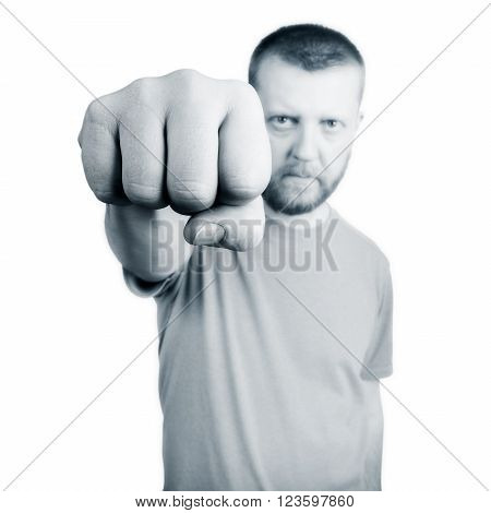 Bearded man held out his hand with fist