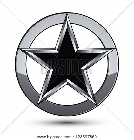 Silvery rounded geometric symbol stylized pentagonal black star placed in a silver ring best for use in web and graphic design. Polished vector icon isolated on white background.