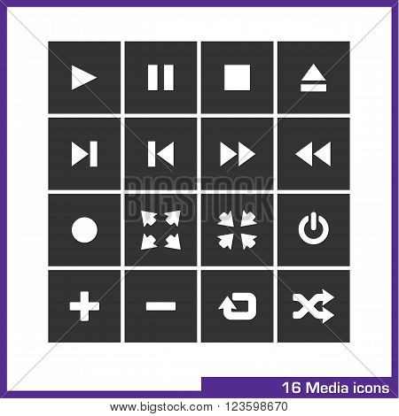 Media icon set. Vector pictograms for web, computer and mobile apps. play, pause, stop, eject, full screen, repeat and shuffle symbol