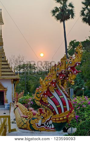 Seven Heads Naga with sunset in Thailand