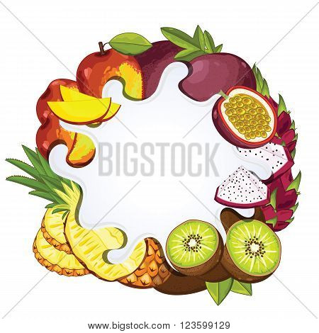 Yogurt splash isolated on tropical fruit. Milk splash. Tropical fruit yogurt. Yogurt Packaging Design Template. Vector illustration.