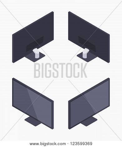 Set of the isometric black HD monitors. The objects are isolated against the white background and shown from different sides