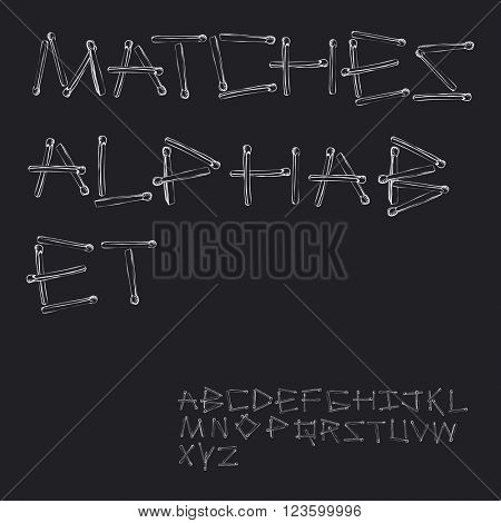 Matches. Matchstick alphabet. English alphabet made of safety match