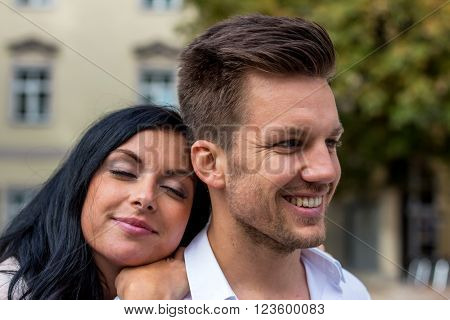 loving couple in an urban setting