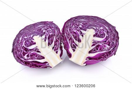 Red cabbage on white background , food