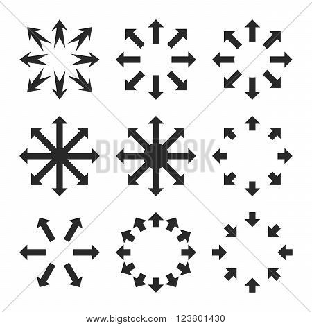 Maximize Arrows vector icon set. Collection style is gray flat symbols on a white background.
