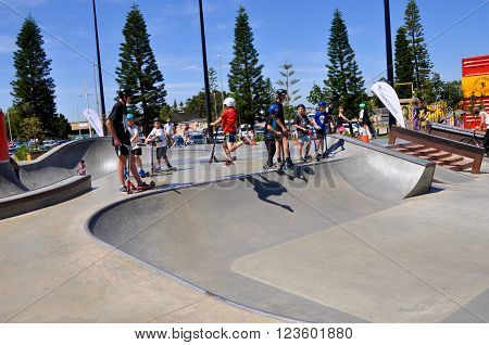 FREMANTLE,WA,AUSTRALIA-OCTOBER 1,2015: Scootering clinic with youth at the Esplanade Youth Plaza in Fremantle, Western Australia.