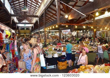 FREMANTLE,WA,AUSTRALIA-FEBRUARY 21,2015: Tourists at the historic Fremantle Markets in Fremantle, Western Australia.