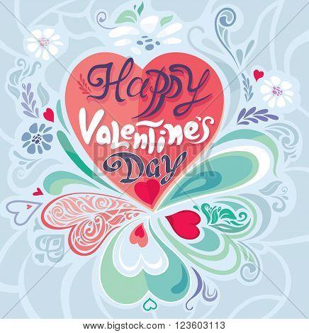 Retro Vintage calligraphic vector decorative Valentine's Day card