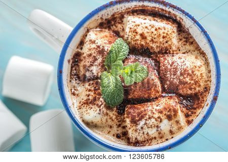 Cup Of Cocoa With Marshmallows And Cocoa Powder