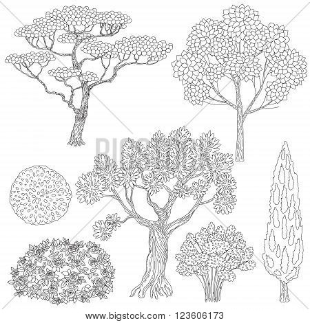 Hand drawn set of outlines trees and bushes. Black and white elements for coloring.