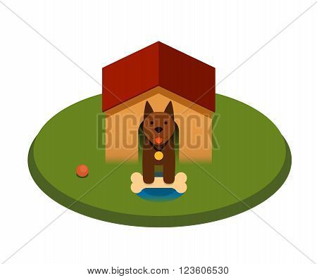 brown puppy dog with bone in the doghouse - flat cartoon vector