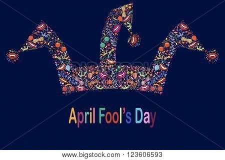 April Fool's Day.Funny vector background with jester hat
