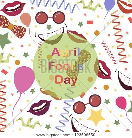 April Fool's Day.Funny background with lips and ribbons.Colorful background