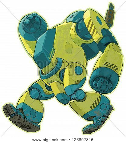 A vector cartoon clip art illustration of a giant yellow weathered industrial robot with a smoke stack walking forward with a lumbering gait.