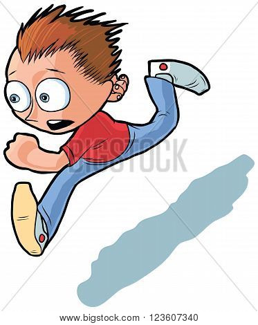 Vector cartoon clip art illustration of an anxious looking running boy.