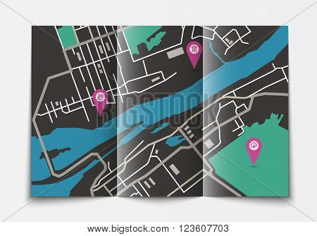 Vector flat paper city map lying open, top view