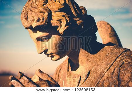 guardian angel statue - vintage style photo