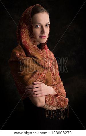 Beautiful Girl Enveloped In Headscarf