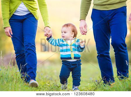 Unrecognizable mother and father holding hands of their little son making first steps outside in green sunny nature