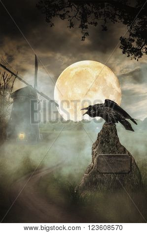 Raven the road against the background of the full moon