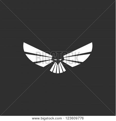 Heavenly predator logo in minimalism modern flat design, eagle vector art