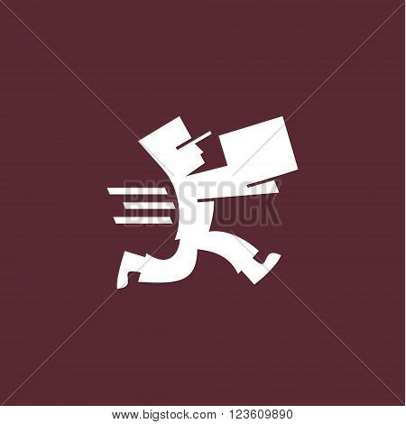 Running man with postal box. Courier with parcel. Delivery themes vector logo design template.