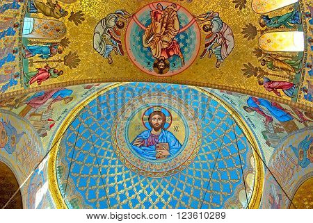 KRONSTADT, SAINT - PETERSBURG, RUSSIA - SEPTEMBER 14, 2014: Jesus Christ and Apostles in interior of The Naval cathedral of Saint Nicholas