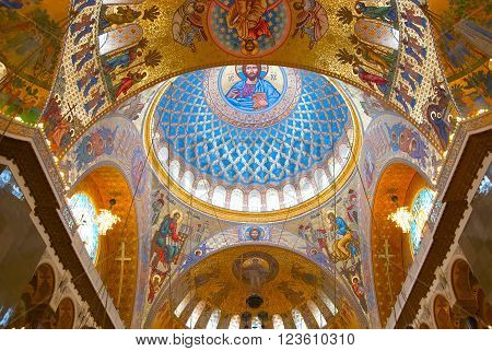 KRONSTADT, SAINT - PETERSBURG, RUSSIA - FEBRUARY 24, 2013: Jesus Christ and Apostles in interior of The Naval cathedral of Saint Nicholas