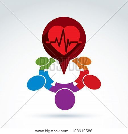 Different nationalities cooperating for love and health - international forum on medical and cardiology theme. Conceptual international Valentines Day sign heartbeat line.