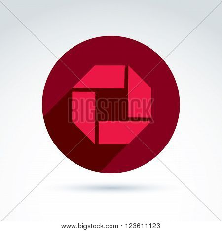Red corporate element created from separate geometric parts. Vector abstract emblem