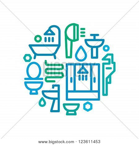 Sanitary ware logo design as a set of icons in a single line, vector illustrations with stylish drawing art