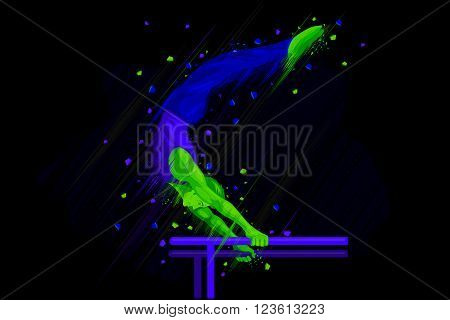 easy to edit vector illustration of gymnast doing stunt on parallel bar