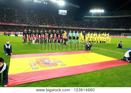 CLUJ-NAPOCA, ROMANIA - MARCH 27, 2016: The National Football Team of Spain and Romania pose for a group photo before a friendly match against Romania before Euro 2016