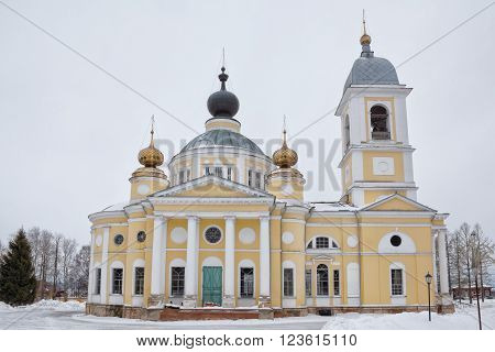 Myshkin, Russia - March 6, 2016: Cathedral of the Dormition in winter. Myshkin town is a popular touristic landmark.