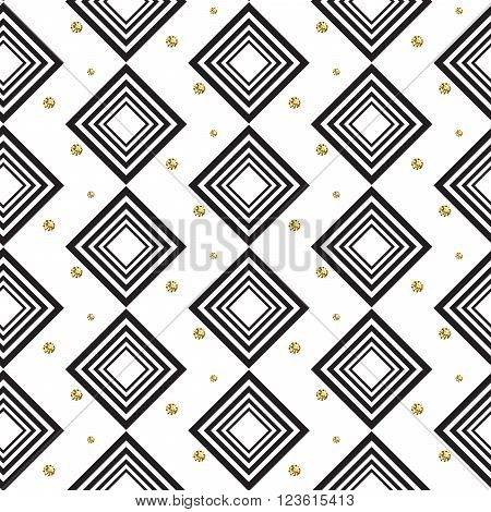 Gold foil glitter polkadot and black rhombs seamless pattern. Vector shimmer abstract circles texture. Sparkle shiny geometric background.