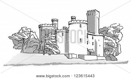 Historic English Castle Hand Drawn Sketch