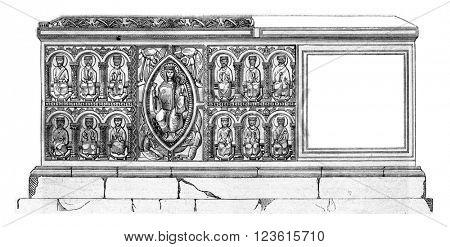 Tomb of Saint Junien, in the parish church of Saint-Junien, Haute-Vienne, vintage engraved illustration. Magasin Pittoresque 1880.