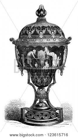 Manufacture de Sevres, Email Vase, vintage engraved illustration. Magasin Pittoresque 1880.