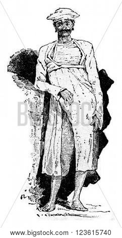 Brahmin, vintage engraved illustration. Dictionary of words and things - Larive and Fleury - 1895.