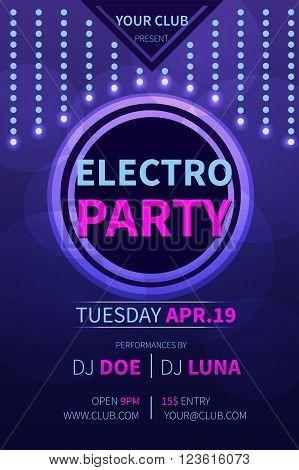 Vector electro party flyer template. Abstract party invitation flyer. Party flyer banner template design.