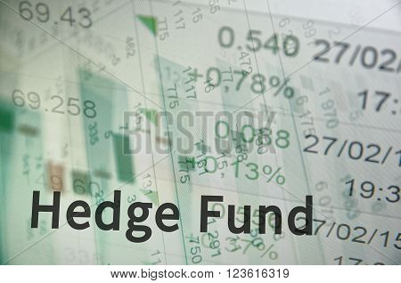 Close-up computer monitor with trading software and inscription Hedge fund.