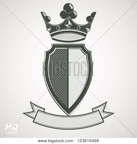 Heraldic royal blazon illustration, imperial decorative coat of arms. Vector shield with king crown and stylized ribbon. Majestic element best for use in graphic and web design.