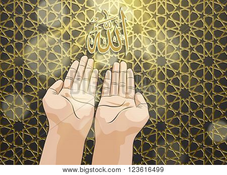 Muslim hands in pose of praying on gold islamic pattern background