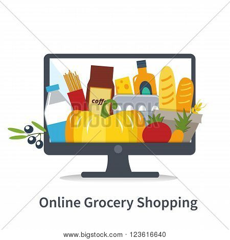 Vector Online shopping concept illustration. Online grocery shopping. Different grocery products on computer screen.