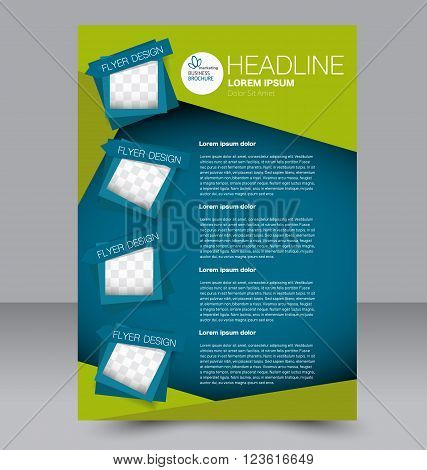 Abstract flyer design background. Brochure template. Can be used for magazine cover business mockup education presentation report. Blue and green color.